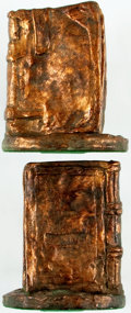 Books:Furniture & Accessories, [Bookends]. Matching Pair of Wonderful Bookends Resembling OldLeather Tomes. Metal with bronze finish. A few faint surface ...(Total: 2 Items)