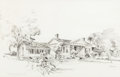 """Works on Paper, EDWARD MUEGGE """"BUCK"""" SCHIWETZ (American, 1898-1984). The Blount House, San Augustine, Texas, 1839, 1950. Pencil on paper..."""