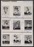 Football Collectibles:Photos, 1964 Norm Van Brocklin and Others Multi Signed Sheet....