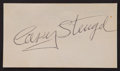 Baseball Collectibles:Others, Casey Stengel Signed Business Card....