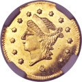 California Fractional Gold, 1869 25C Liberty Round 25 Cents, BG-826, R.4, MS65 ProoflikeNGC....