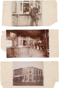 Three Albumen Photos of the Bank Robbed by Ben Wheeler and Henry Brown