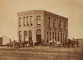 Photography:Official Photos, Terrific Original 1884 Albumen Photo of the Medicine Valley Bank, with the Posse That Tracked Down Wheeler, Brown, and Company...