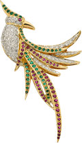 Jewelry, DIAMOND, EMERALD, RUBY, GOLD BROOCH. ...