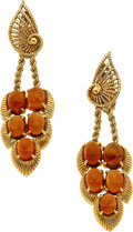 Jewelry, AMBER, GOLD EARRINGS. ... (Total: 2 Items)
