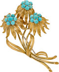 Jewelry, TURQUOISE, GOLD BROOCH. ...