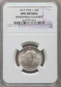 Standing Liberty Quarters, 1917 25C Type One -- Improperly Cleaned -- NGC Details. Unc. NGC Census: (3/1140). PCGS Population (19/1581). Mintage: 8,74...