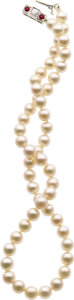 Estate Jewelry:Pearls, CULTURED PEARL, DIAMOND, RUBY, WHITE GOLD NECKLACE. ...
