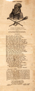 "Miscellaneous:Broadside, [Americana, Broadside]. Broadside Featuring a Poem by CharlesHardy. 1825. Measures 5"" x 12"". Several tape repairs to verso...."