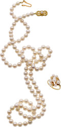Estate Jewelry:Other , CULTURED PEARL, GOLD JEWELRY SUITE, MIKIMOTO. ...