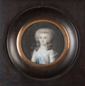 Fine Art - Painting, European:Antique  (Pre 1900), FLAVIEN EMMANUEL CHABANNE (French, 1799-1859). Portrait of a Lady. Watercolor on ivory with original card backing. 2-1/4...