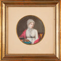 Fine Art - Painting, European:Antique  (Pre 1900), LOUIS AMI ARLAUD-JURINE (Swiss, 1751-1829). Portrait of Theodora-Helene-Elisabeth Tronchin. Watercolor on ivory laid on ...