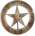 Militaria:Insignia, Ben Wheeler (and Possibly Henry Brown's) Caldwell, Kansas Assistant Marshal's Badge. ...