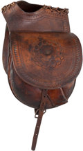 Arms Accessories:Holsters, A Superior Early Set of Tooled Leather Saddlebags. ...