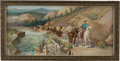 "Advertising:Signs, Oscar Edmund Berninghaus: ""Relief Train"" Anheuser Busch AdvertisingChromolithograph, Circa 1912...."