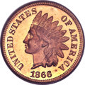 Proof Indian Cents, 1866 1C PR66 Red Cameo PCGS....