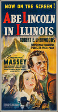 "Movie Posters:Drama, Abe Lincoln in Illinois (RKO, 1940). Trimmed Three Sheet (39.5"" X 77""). Drama.. ..."