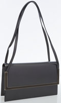 Luxury Accessories:Bags, Salvatore Ferragamo Gunmetal Metallic Leather Structured Bag withEnamel Hardware. ...