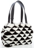 Luxury Accessories:Bags, Chanel Black and White Checkered Fur Bag with Black LeatherHandles. ...