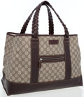 Luxury Accessories:Bags, Gucci Classic Monogram Coated Canvas Tote with Braided LeatherHandles. ...