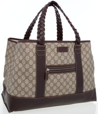 Gucci Classic Monogram Coated Canvas Tote with Braided Leather Handles