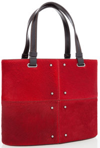 Tod's Red Ponyhair Evening Bag with Gunmetal Hardware