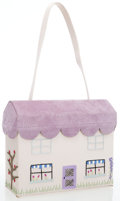 Luxury Accessories:Bags, Lulu Guinness Cream & Purple Satin House Bag. ...