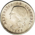 Colombia: , Colombia: Republic 50 Centavos 1908/7 Bogota, KM186.2, lustrousnearly XF, lightly cleaned, clear overdate and a decidedly rarevariet...