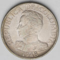 Colombia: , Colombia: Republic 50 Centavos 1948-B, KM209, nice toned XF, veryscarce non-overdate type, very bold 8. BC104....
