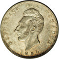 Ecuador: , Ecuador: Republic Sucre 1890TF Lima, KM53.3, MS62 NGC, lightly toned and attractive, very scarce in mint state....