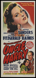 "Movie Posters:Film Noir, The Strange Affair of Uncle Harry (Universal, 1945). AustralianDaybill (13.5"" X 30""). Film Noir. ..."