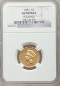 Three Dollar Gold Pieces, 1881 $3 -- Polished -- NGC Details. AU. ...