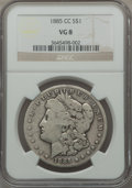 Morgan Dollars: , 1885-CC $1 VG8 NGC. NGC Census: (5/9513). PCGS Population (13/18934). Mintage: 228,000. Numismedia Wsl. Price for problem f...