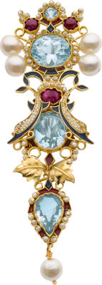 MULTI-STONE, ENAMEL, GOLD BROOCH