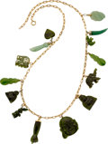 Estate Jewelry:Necklace, NEPHRITE JADE, AVENTURINE QUARTZ, GOLD NECKLACE...
