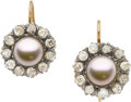 Estate Jewelry:Earrings, ANTIQUE CULTURED PEARL, DIAMOND, SILVER-TOPPED GOLD EARRINGS. ...