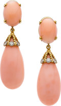 Jewelry, CORAL, DIAMOND, GOLD EARRINGS, CELLINO. ...
