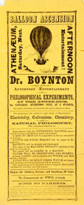 Miscellaneous:Broadside, [Americana, Broadside]. Broadside Advertising a Balloon Ascensionand Various Other Scientific Experiments. Ca. 1880. Measur...