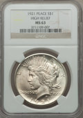 Peace Dollars, 1921 $1 MS63 NGC. NGC Census: (2921/4687). PCGS Population(3810/5246). Mintage: 1,006,473. Numismedia Wsl. Price for probl...
