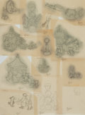 Books:Original Art, Garth Williams (1912-1996), illustrator. Group of Thirteen Tiny Pencil Illustrations. The drawings are of unknown use. All a...