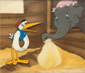 Animation Art:Production Cel, Dumbo Mrs. Jumbo and Stork Production Cel Courvoisier Setup(Walt Disney, 1941)....