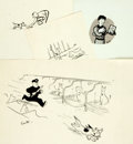 Books:Original Art, Garth Williams (1912-1996), illustrator. SIGNED. Group of Four Pen and Ink Gag Illustrations. Possibly done for The New Yo...
