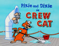 "Animation Art:Production Cel, The Huckleberry Hound Show ""Pixie and Dixie in 'Crew Cat'""Title Cel with Main Title Info Sheet (Hanna-Barbera, 1960)....(Total: 2 Original Art)"
