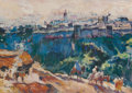 Fine Art - Work on Paper:Watercolor, HENRI JEAN PONTOY (French, 1888-1968). View of Fez from theMountain Trail. Gouache and tempera on paper laid on board. ...