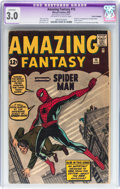 Silver Age (1956-1969):Superhero, Amazing Fantasy #15 (Marvel, 1962) CGC Apparent GD/VG 3.0 CoverTrimmed. Off-White to white pages....