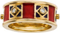 Estate Jewelry:Rings, DIAMOND, ENAMEL, GOLD RING, CAROL SILVERA. ...