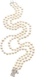Estate Jewelry:Necklace, CULTURED PEARL, DIAMOND, WHITE GOLD NECKLACE. ...