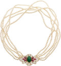 Estate Jewelry:Necklace, CULTURED PEARL, DIAMOND, MULTI-STONE, GOLD NECKLACE. ...