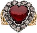 Estate Jewelry:Rings, GARNET, DIAMOND, GOLD, SILVER RING. ...