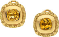 CITRINE, GOLD EARRINGS, CAROL SILVERA